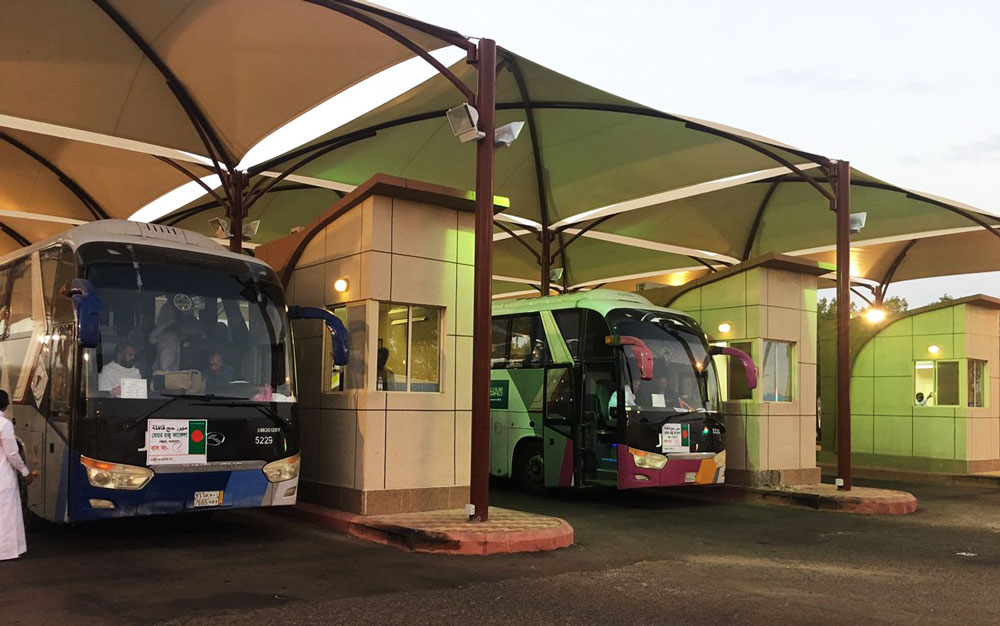 Buses at a checkpoint