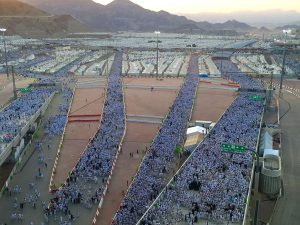 Thousands of pilgrims walking on the Jamarat bridge.