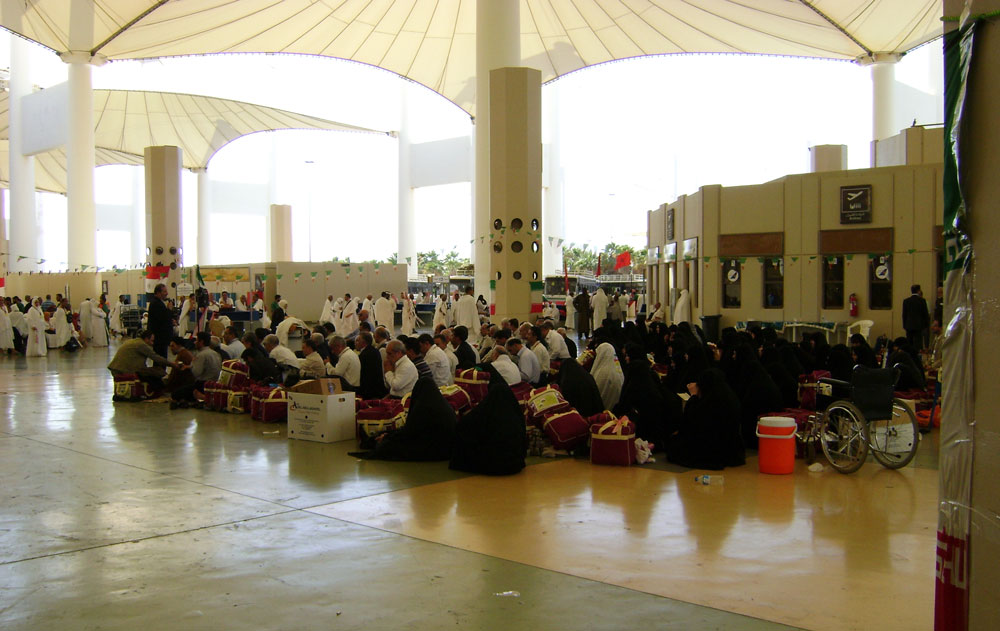 Pilgrims waiting in the Hajj Terminal