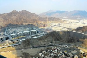 The Jamarat are located at the far side of Mina