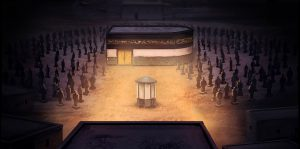 A depiction of the Kaaba surrounded by idols before the advent of Islam