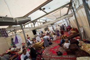 Inside a tent in Mina