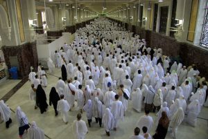Pilgrims performing Sa'i between Safa and Marwah