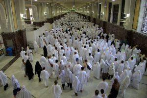 Pilgrims performing Sa'i between Safa and Marwah