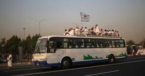 Pilgrims on a coach