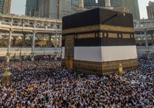 Tawaf on the ground level becomes extremely crowded at peak times