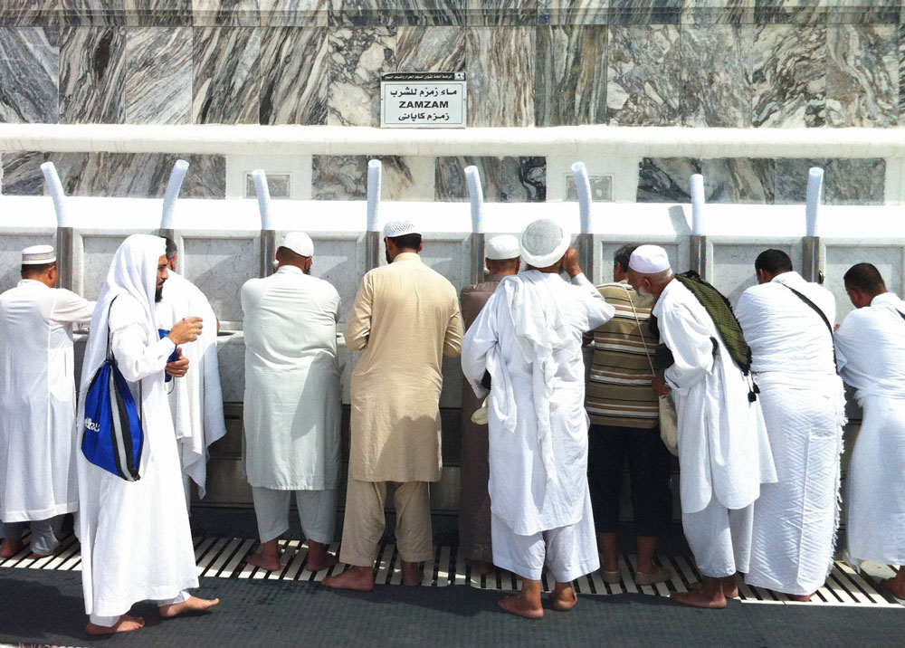 Zamzam is available throughout the Haram